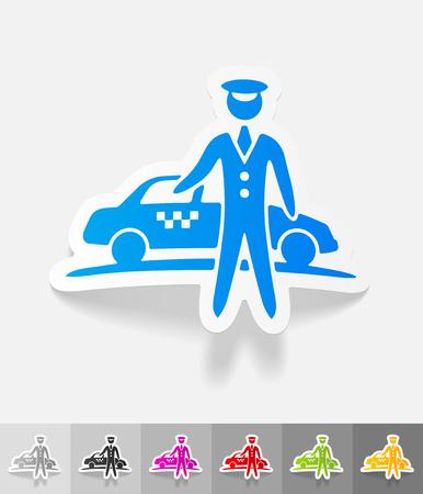 taxista: el aparcamiento y el papel del taxi pegatina con sombras. Ilustración vectorial