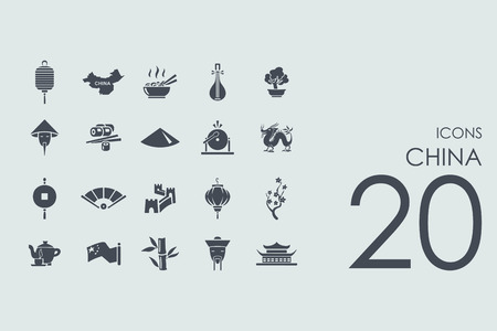 China vector set of modern simple icons Illustration