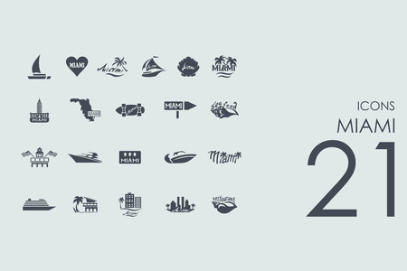 miami: Miami vector set of modern simple icons Illustration