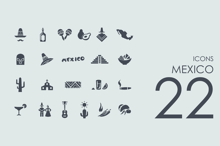 mexico: Mexico vector set of modern simple icons