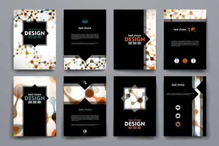 Set of brochure, poster templates in DNA molecule style. Beautiful design and layout Illustration