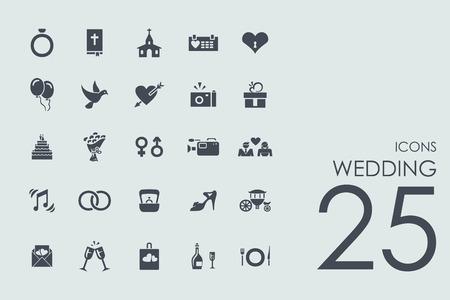 bruiloft vector set van de moderne eenvoudige pictogrammen