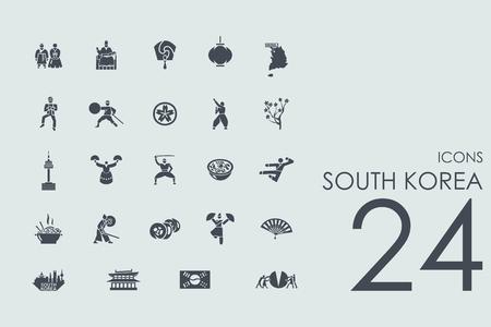 Corée du Sud vecteur ensemble d'icônes simples modernes