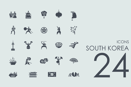 south east asia map: South Korea vector set of modern simple icons