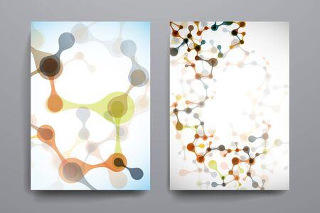 macromolecule: Set of brochure, poster templates in DNA molecule style. Beautiful design Illustration