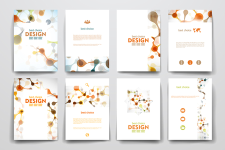 catalog cover: Set of brochure, poster templates in DNA molecule style. Beautiful design Illustration