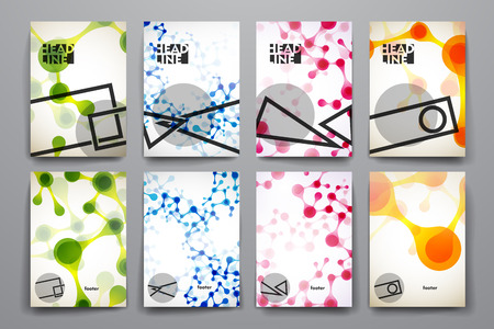 dna: Set of brochure, poster templates in DNA molecule style. Beautiful design Illustration