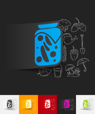 pickled: hand drawn simple elements with pickled vegetables paper sticker shadow