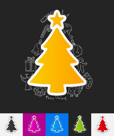 tree sketch: hand drawn simple elements with christmas tree paper sticker shadow Illustration