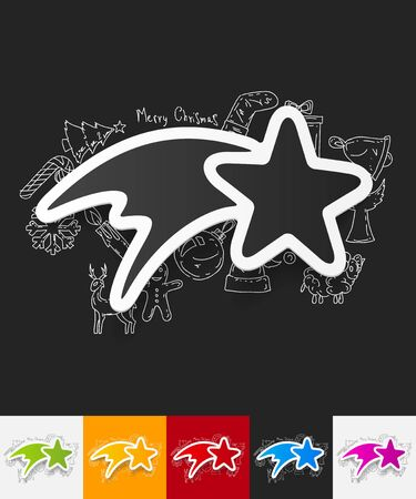specify: hand drawn simple elements with christmas star paper sticker shadow