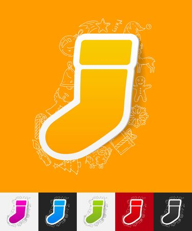 sock: hand drawn simple elements with christmas sock paper sticker shadow Illustration