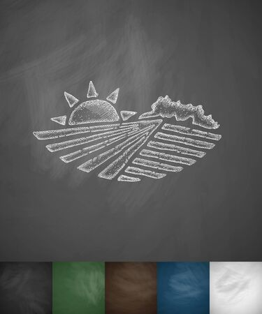 agriculture field: agricultural landscape icon. Hand drawn vector illustration. Chalkboard Design