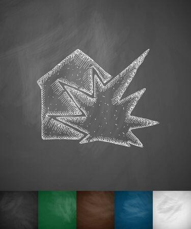 blank bomb: house explosion icon. Hand drawn vector illustration. Chalkboard Design