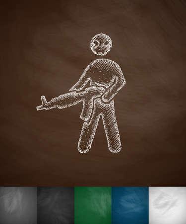 hostages: man with a gun icon. Hand drawn vector illustration. Chalkboard Design Illustration