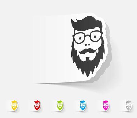 egghead: realistic design element. face male
