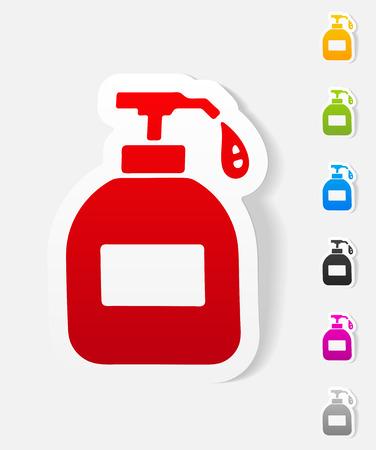 jabon liquido: elemento de diseño realista. jabón líquido