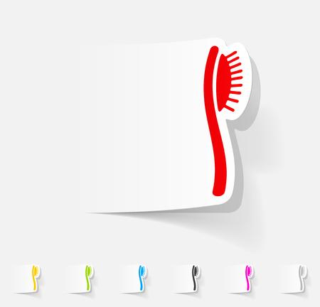 combing: realistic design element. hair brush Illustration