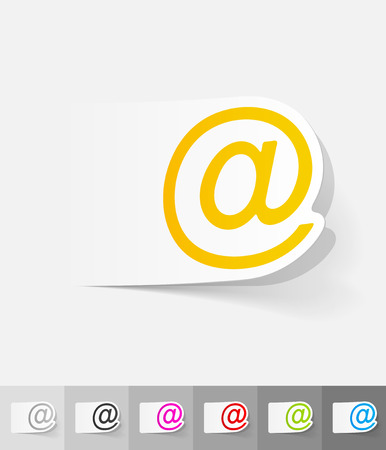 spam mail: email paper sticker with shadow. Vector illustration