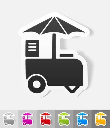 soft serve ice cream: ice cream van paper sticker with shadow. Vector illustration Illustration