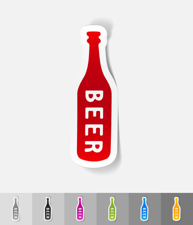 litre: bottle of beer paper sticker with shadow. Vector illustration