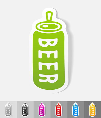 litre: canned beer paper sticker with shadow. Vector illustration