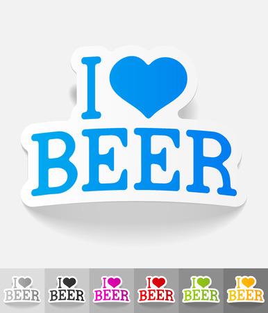 I love beer paper sticker with shadow. Vector illustration Illustration