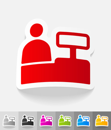 specialty store: salesman behind the counter paper sticker with shadow. Vector illustration Illustration