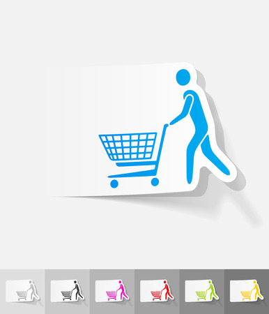 shopping trolley: man with trolley paper sticker with shadow. Vector illustration