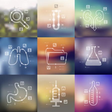 simbolo medicina: presentaciones medicina de l�nea de tiempo con el fondo fuera de foco borrosa Vectores