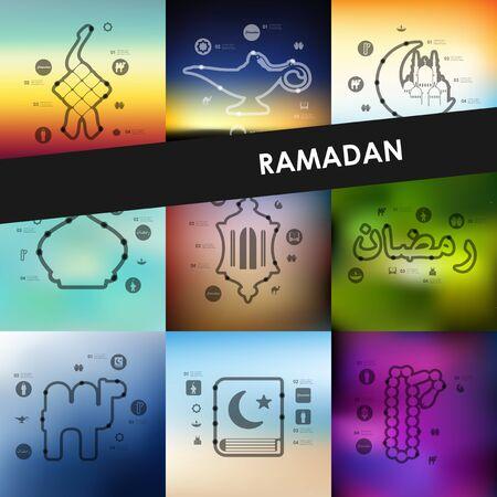 quran: ramadan timeline presentations with blurred unfocused background Illustration