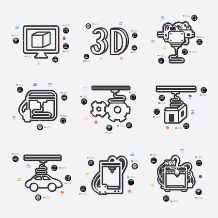 blasting: three d printer line infographic illustration