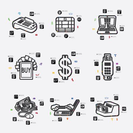 liabilities: e-money line infographic illustration