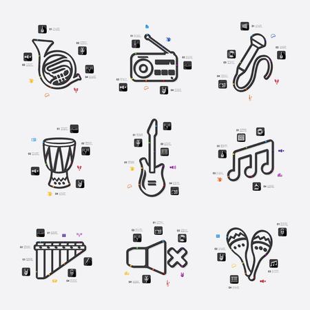 workmanship: music line infographic illustration