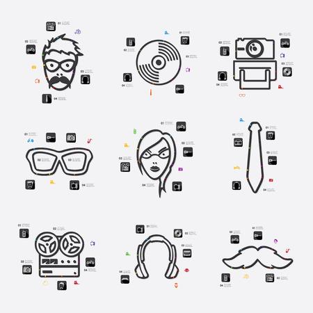 admirer: hipster line infographic illustration