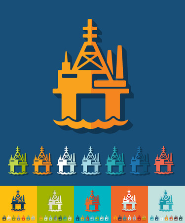 oil derrick: oil derrick in sea icon in flat design with long shadows illustration Illustration