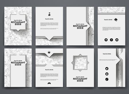 comfort food: design brochures with doodles backgrounds on restaurant theme Illustration