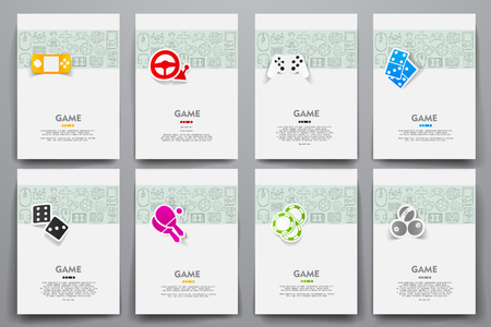 gaming: Corporate identity templates set with doodles gaming theme Illustration