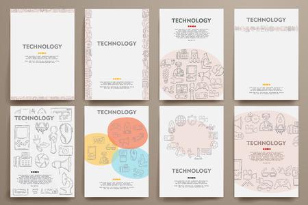 modernization: Corporate identity templates set with doodles technology theme