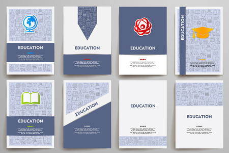 Corporate identity templates set with doodles education theme