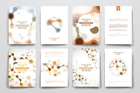 molecula: Conjunto de folleto, plantillas de carteles en el estilo de molécula de ADN
