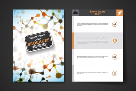 macromolecule: Set of brochure, poster templates in DNA molecule style design and layout