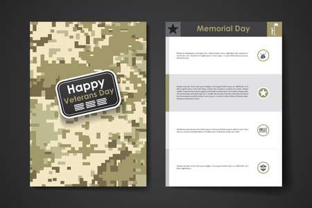 happy day: Set of brochure, poster templates in veterans day style design and layout