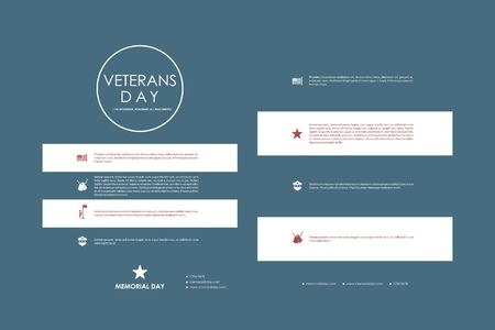 american flag fireworks: Set of brochure, poster templates in veterans day style design and layout