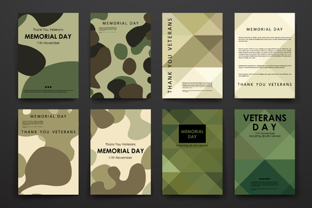 conflict: Conjunto de folletos, plantillas de carteles en el diseño de los veteranos de estilo días y el diseño
