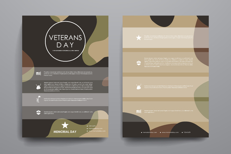 broshure: Set of brochure, poster templates in veterans day style design and layout