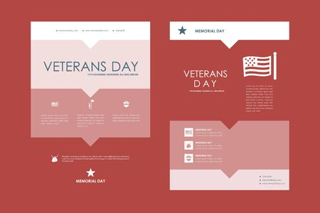 veterans day: Set of brochure, poster templates in veterans day style design and layout