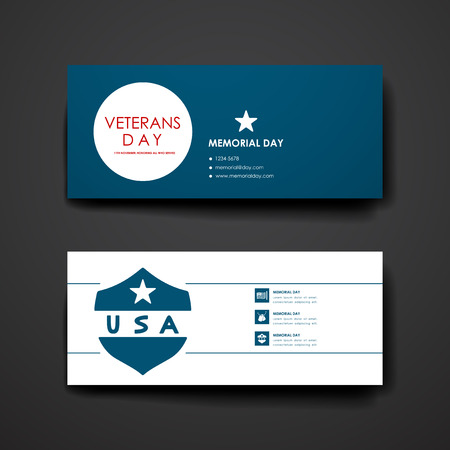 american flag fireworks: Set of modern design banner template in veterans day style. Beautiful design and layout