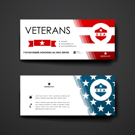 american army: Set of modern design banner template in veterans day style. Beautiful design and layout