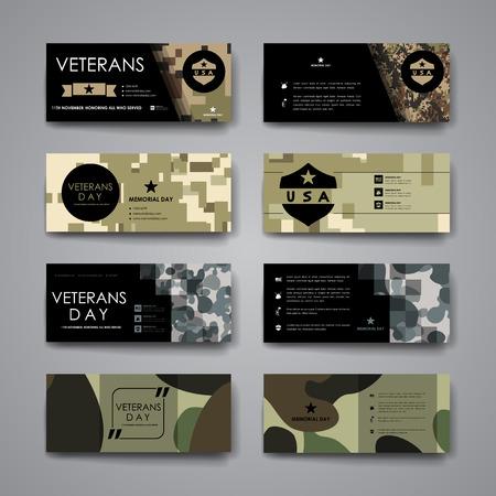 tarjeta de invitacion: Conjunto de moderno plantilla de banner de diseño en el diseño de los veteranos de estilo días y el diseño