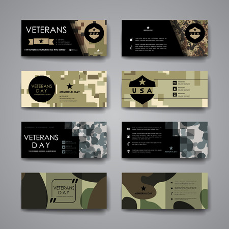 Set of modern design banner template in veterans day style design and layout Zdjęcie Seryjne - 46460137